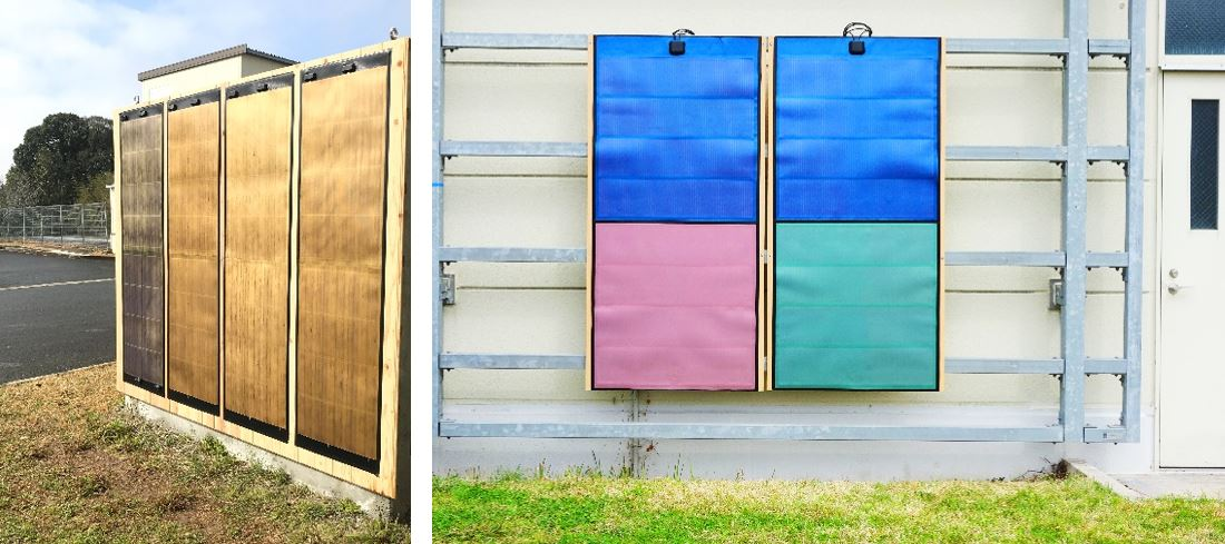 The verification tests feature flexible photovoltaic modules with wood-grain pattern decorative films (left) and monochrome decorative films (right) in actual-use environments