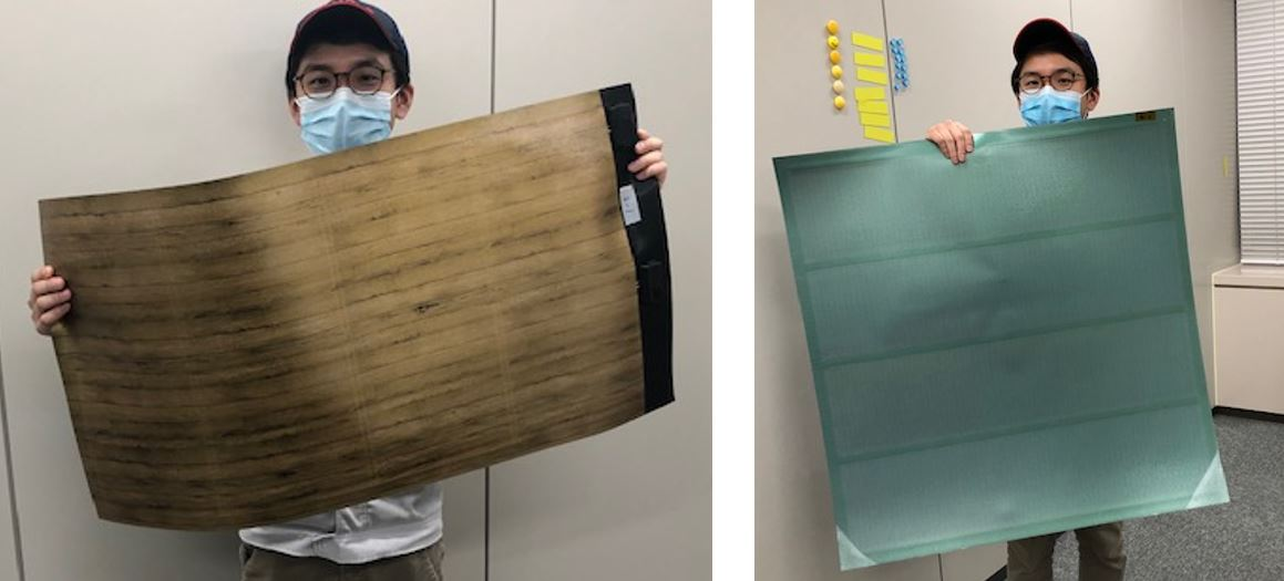 Decorative film with a wood-grain pattern (left) and monochrome green (right) attached to lightweight, flexible photovoltaic modules manufactured by F-WAVE