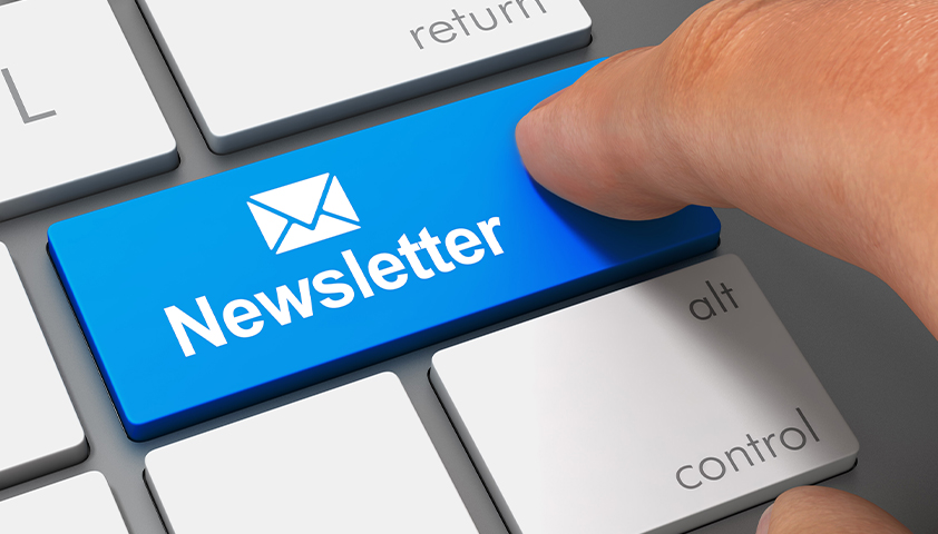 Publish an email newsletter about compliance once a month